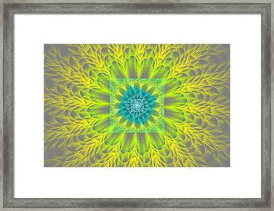 Psychedelic Spiral Vortex Yellow And Gray Fractal Flame Framed Print by Keith Webber Jr