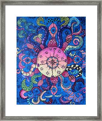 Psychedelic Squid Framed Print by Megan Walsh