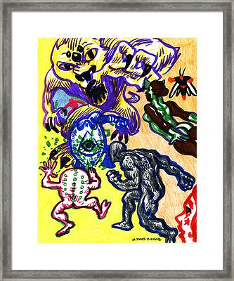 Psychedelic Super Battle Framed Print