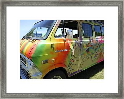 Psychedelic Van Summer Of Love Framed Print by Ann Powell