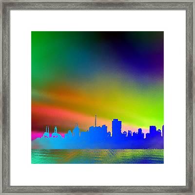Psychedelic Vancouver Skyline Left Panel Framed Print