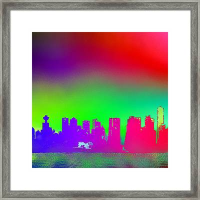 Psychedelic Vancouver Skyline Triptych Centre Framed Print by Patricia Keith