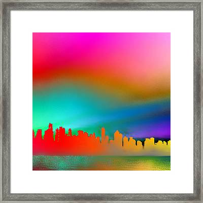 Psychedelic Vancouver Skyline Triptych Right Framed Print by Patricia Keith