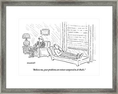 Psychiatrist To Patient On Couch Framed Print