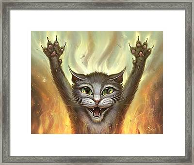 Psycho Cat Framed Print by Jeff Haynie