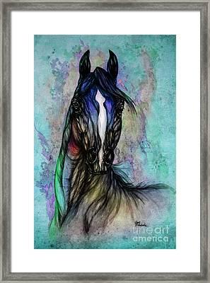 Psychodelic Blue And Green Framed Print by Angel  Tarantella