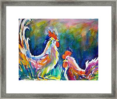 Psychodelic Cluckers Framed Print by Therese Fowler-Bailey