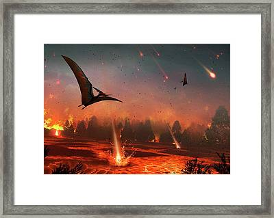 Pterosaurs And Mass Extinction Framed Print by Mark Garlick
