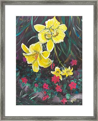 Ptg. Day Lillies And Impatients Framed Print by Judy Via-Wolff