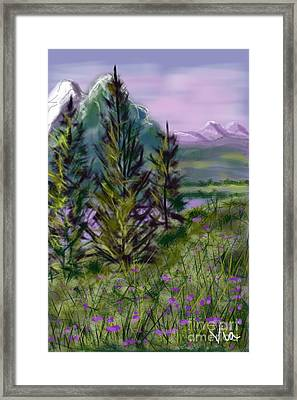 ptg.  Mountain Meadow Pond Framed Print