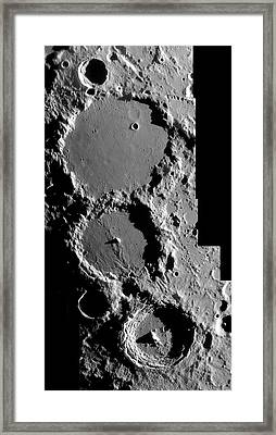 Ptolemaeus Trio Of Lunar Craters Framed Print by Damian Peach