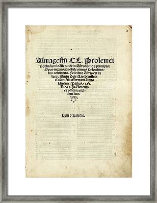 Ptolemy's Almagest Framed Print by Library Of Congress