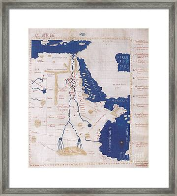 Ptolemys Map Of The Nile 2nd Century Framed Print by Photo Researchers