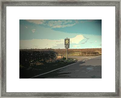 Pub Entrance Sign On Deep Dale Lane, This Driveway Leads Framed Print