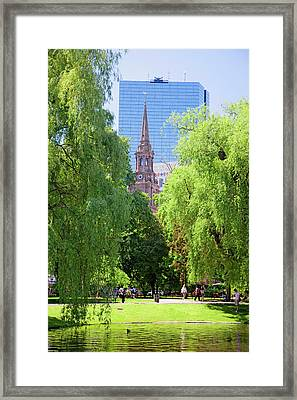 Public Garden Founded 1837 And Boston Framed Print