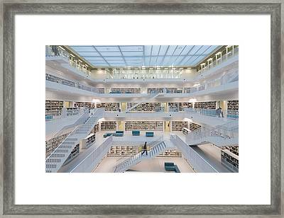 Public Library Stuttgart - Modern Architecture And Lots Of Books Framed Print by Matthias Hauser