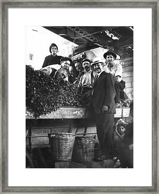 Public Market Vegetable Stand Framed Print by Underwood Archives
