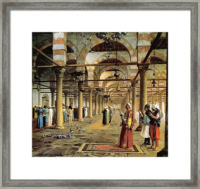Public Prayer In The Mosque  Framed Print by Jean Leon Gerome