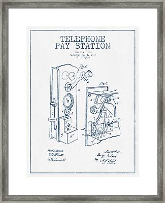 Public Telephone Patent Drawing From 1907  - Blue Ink Framed Print by Aged Pixel