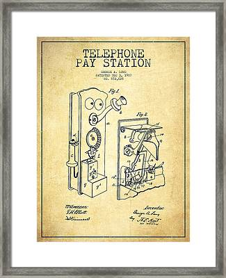Public Telephone Patent Drawing From 1907 - Vintage Framed Print by Aged Pixel