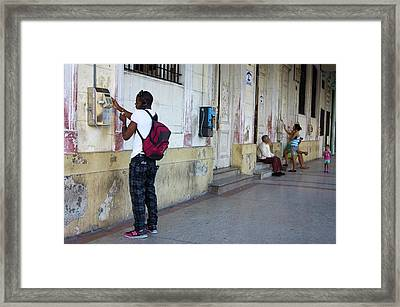 Public Telephones In Havana. Framed Print by Mark Williamson