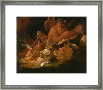 Puck And Fairies From A Midsummer Night's Dream Framed Print