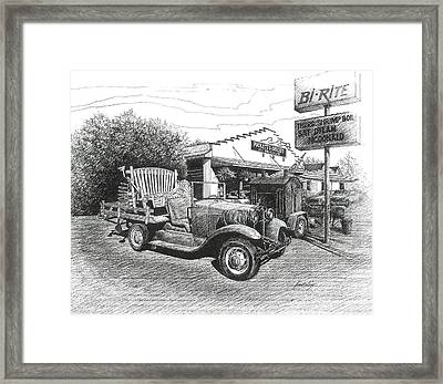 Framed Print featuring the drawing Puckett's Grocery And Restuarant by Janet King
