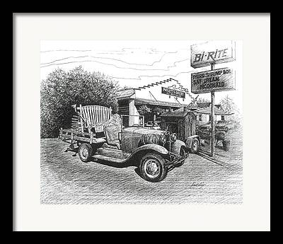 Historic Country Store Drawings Framed Prints