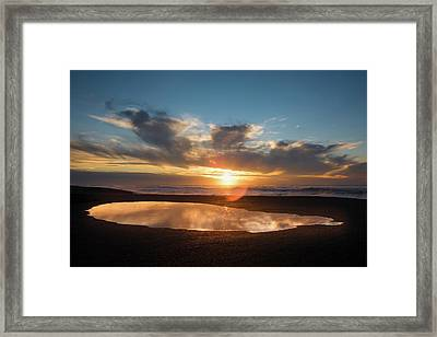 Puddle On The Beach At Sunset, Point Framed Print