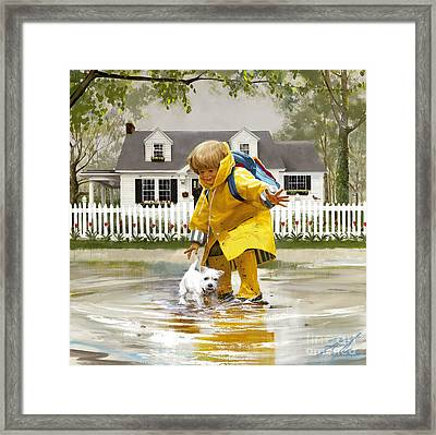 Puddles And Splashes Framed Print by Donald Zolan