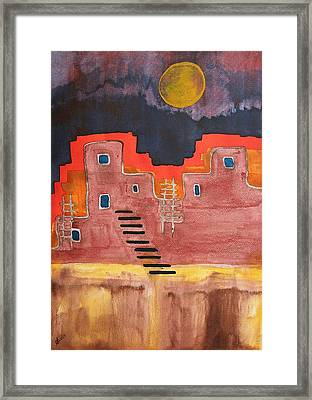 Pueblito Original Painting Framed Print