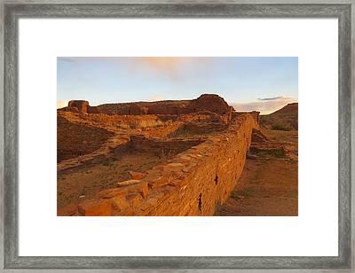Pueblo Del Arroyo At Sunset Framed Print
