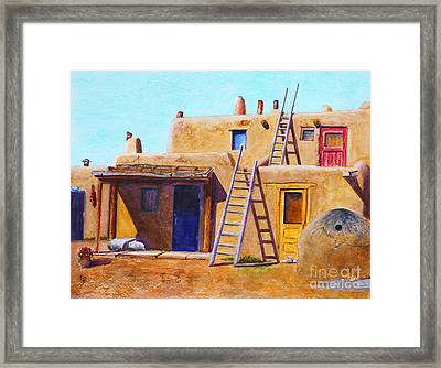 Framed Print featuring the painting Pueblo by Karen Fleschler