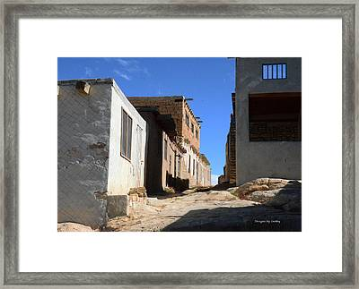 Framed Print featuring the photograph Pueblo Pathway by Debby Pueschel