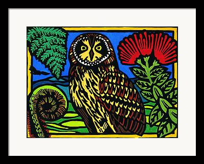 Hand Painted Lino Cut Framed Prints
