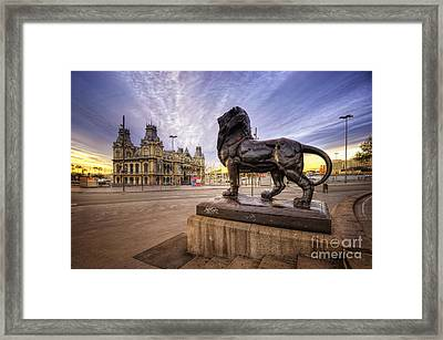 Puerto De Barcelona Sunrise Framed Print