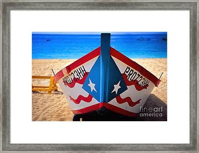 Puerto Rican Flag Painted Fishing Boat Framed Print by George Oze