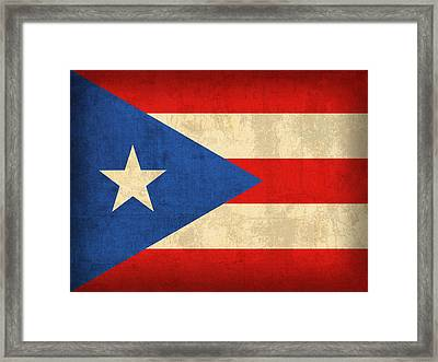Puerto Rico Flag Vintage Distressed Finish Framed Print