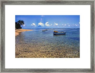 Puerto Rico Luquillo Beach Fishing Boats Framed Print by Thomas R Fletcher