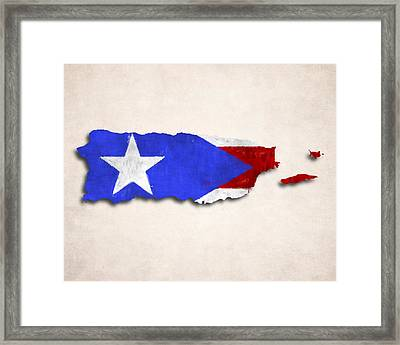 Puerto Rico Map Art With Flag Design Framed Print