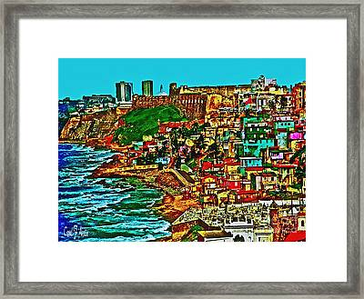 Old San Juan Puerto Rico Walled City Framed Print by Carol F Austin