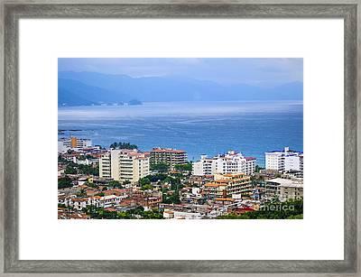 Puerto Vallarta And Blue Ocean Framed Print