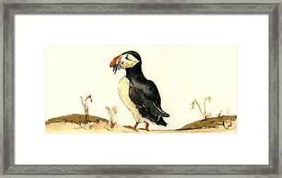 Puffin With Fishes Framed Print by Juan  Bosco