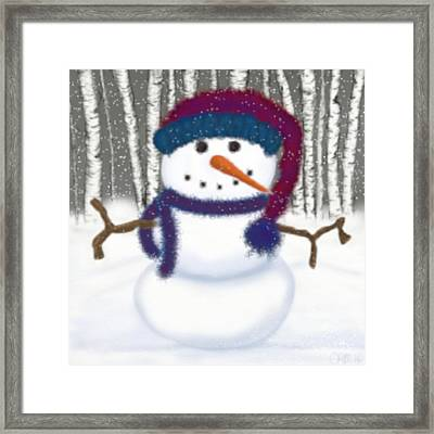 Puffy The Snowman Framed Print by Michelle Brenmark