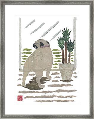 Pug Art Hand-torn Newspaper Collage Art Framed Print by Keiko Suzuki Bless Hue