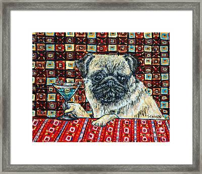 Pug At The Martini Bar Framed Print by Jay  Schmetz