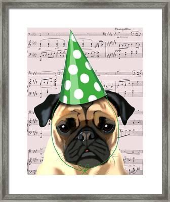 Pug In A Party Hat Framed Print by Kelly McLaughlan