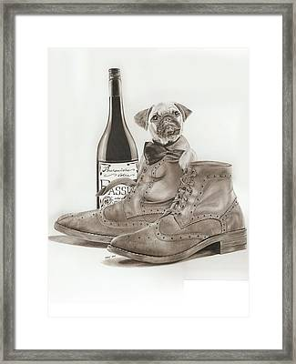 Pug In Boots Framed Print by Terri Meredith