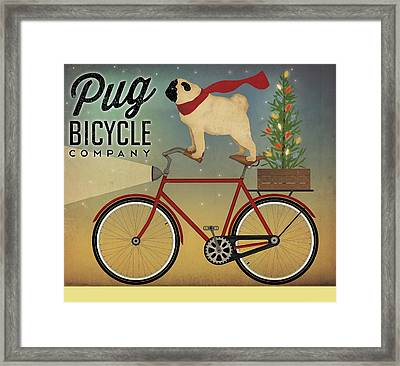 Pug On A Bike Christmas Framed Print by Ryan Fowler