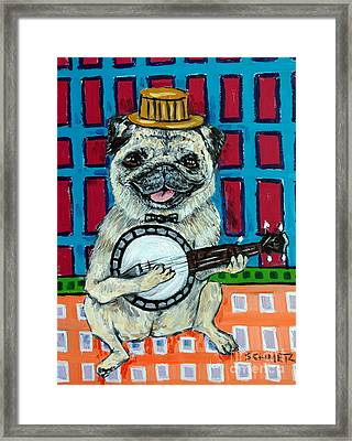 Pug Playing Banjo Framed Print by Jay  Schmetz
